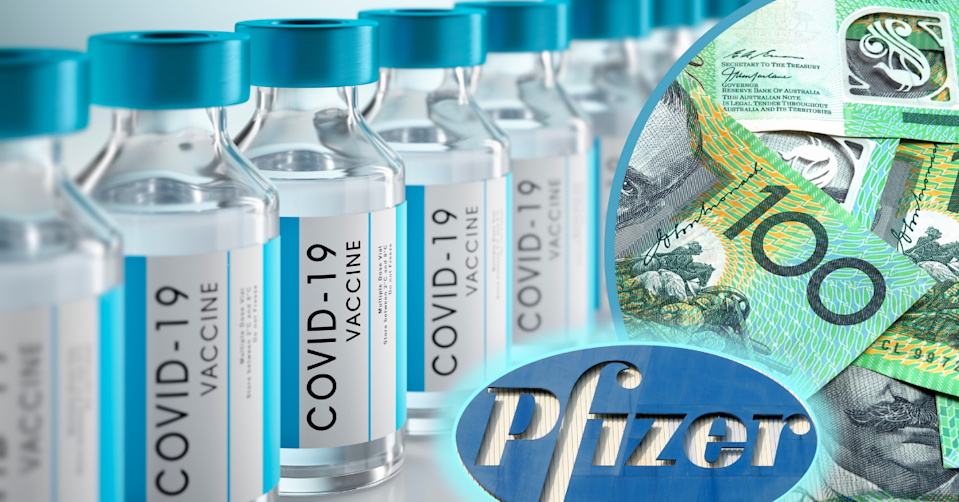 COVID-19 vaccines in a row, the Pfizer logo and Australian $100 notes scattered on top of each other.