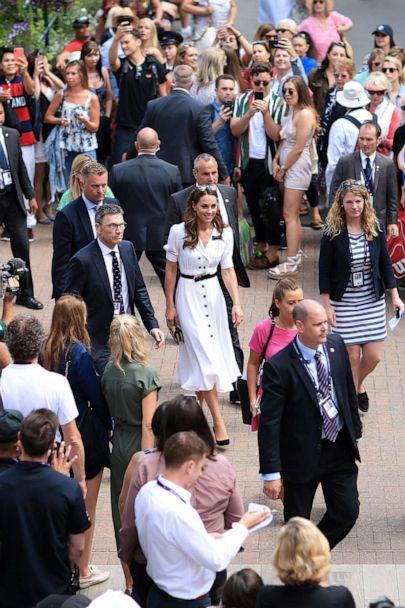 PHOTO: Catherine, Duchess of Cambridge is surrounded as she arrives for Day 2 of The Championships - Wimbledon 2019 at the All England Lawn Tennis and Croquet Club on July 2, 2019 in London. (Simon Stacpoole/Offside/Getty Images)
