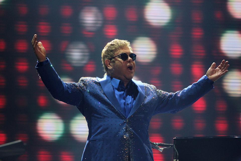 Elton John performs a concert live on stage during Rock in Rio 2015 held in Rio de Janeiro, Brazil on September 20, 2015. (Photo by Antonio Cicero / Fotoarena) *** Please Use Credit from Credit Field ***