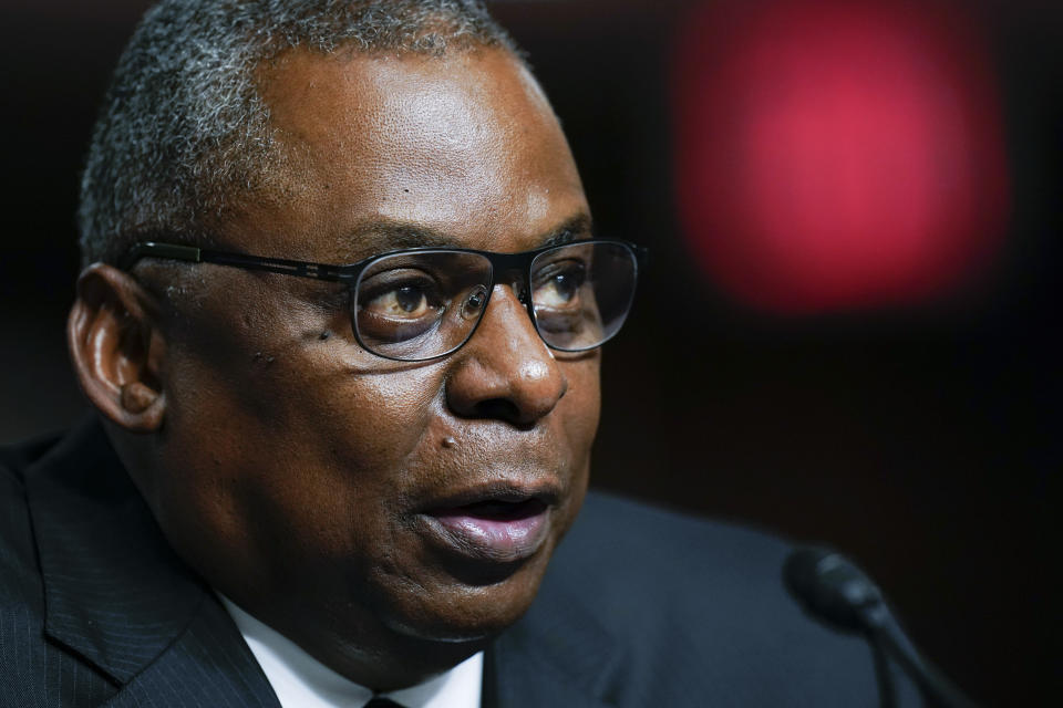 Defense Secretary Lloyd Austin speaks during a Senate Armed Services Committee hearing on the conclusion of military operations in Afghanistan and plans for future counterterrorism operations, Tuesday, Sept. 28, 2021, on Capitol Hill in Washington. (AP Photo/Patrick Semansky, Pool)