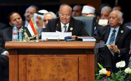 Yemen's President Abd-Rabbu Mansour Hadi speaks during the opening meeting of the Arab Summit in Sharm el-Sheikh, in the South Sinai governorate, south of Cairo, March 28, 2015. REUTERS/Stringer