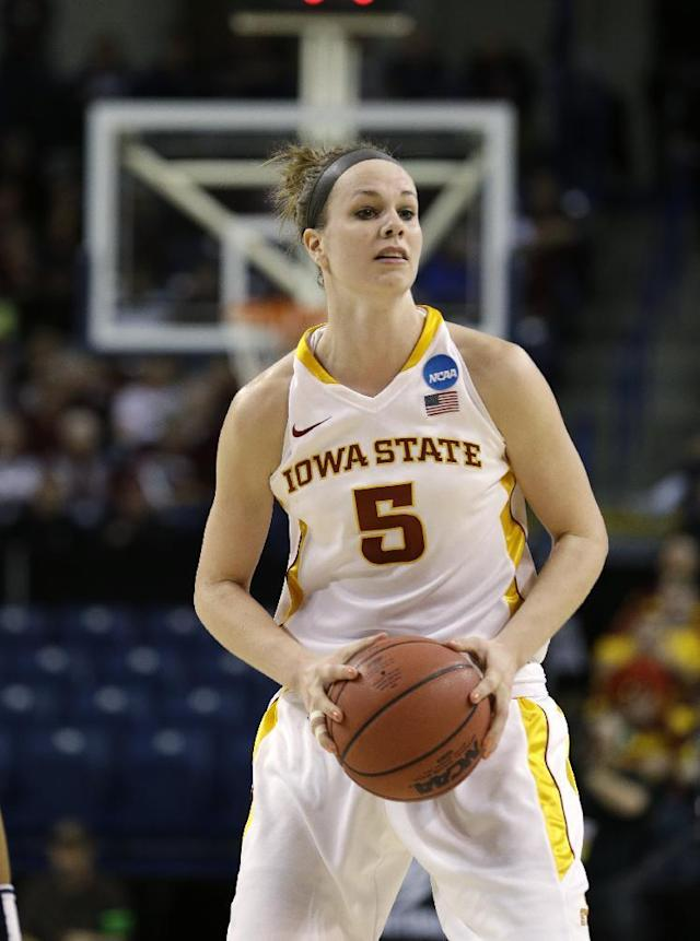 Iowa State's Hallie Christofferson in action against Gonzaga during a first-round game in the women's NCAA college basketball tournament in Spokane, Wash., Saturday, March 23, 2013. (AP Photo/Elaine Thompson)