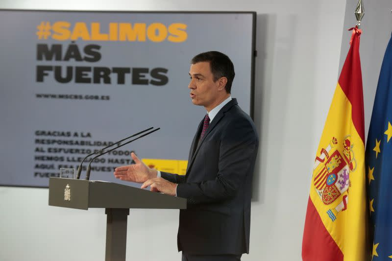 Spanish PM Sanchez delivers a statement amid the coronavirus disease (COVID-19) outbreak in Madrid