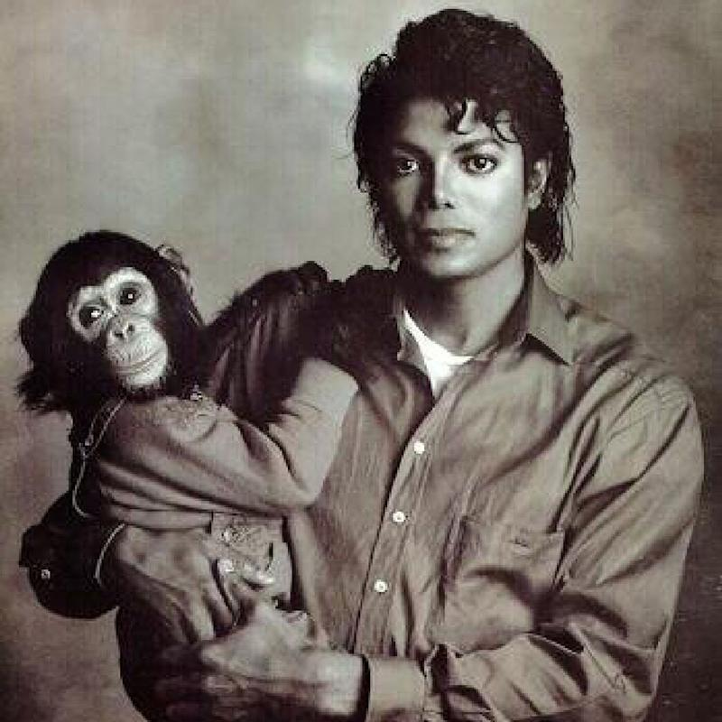 Michael Jackson and Bubbles (Credit: Newscom)