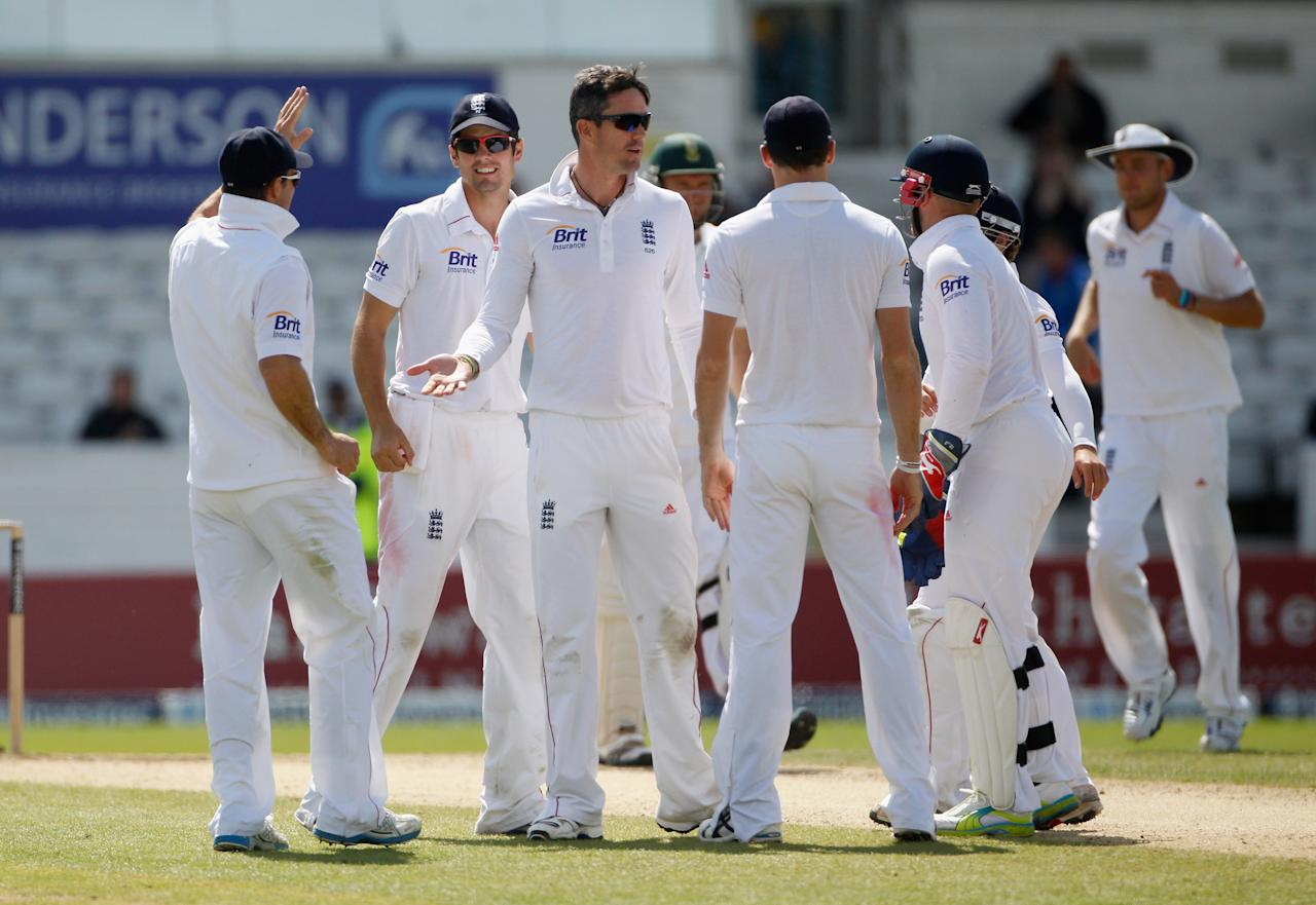 LEEDS, ENGLAND - AUGUST 06:  Kevin Pietersen of England celebrates taking the wicket of Jacques Rudolf of South Africa during day 5 of the 2nd Investec Test Match between England and South Africa at Headingley on August 6, 2012 in Leeds, England.  (Photo by Tom Shaw/Getty Images)