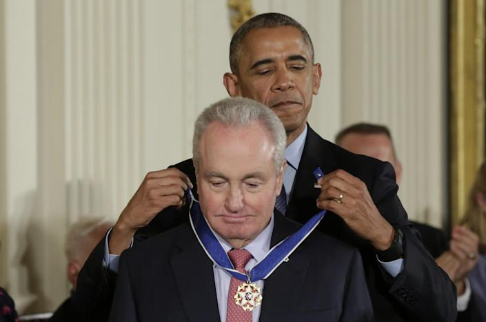 """<p>President Obama presents the Presidential Medal of Freedom to """"Saturday Night Live"""" creator and producer Lorne Michaels during a ceremony in the White House East Room, Nov. 22, 2016. (Yuri Gripas/Reuters) </p>"""