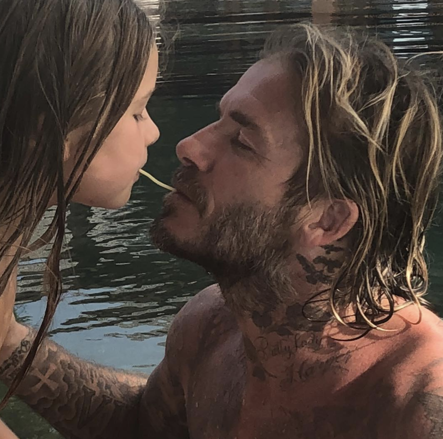 "<p>""The best daddy in the world,"" Posh captioned this shot of her hunky husband, David Beckham, <em>Lady and the Tramp</em>-ing with their sweet daughter, Harper. ""We Love u so, so much,"" she added. ""Kisses."" (Photo: <a rel=""nofollow"" href=""https://www.instagram.com/p/BdiNVDWlFFG/?taken-by=victoriabeckham"">Victoria Beckham via Instagram</a>) </p>"