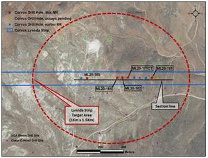 Location map for new Lynnda Strip drill holes reported Feb 11, 2021, East Bullfrog District, Nevada