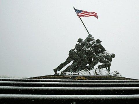 The icy steps at the U.S. Marine Corps War Memorial is seen during blizzard conditions in Arlington, Virginia during a snow storm in the Washington metro