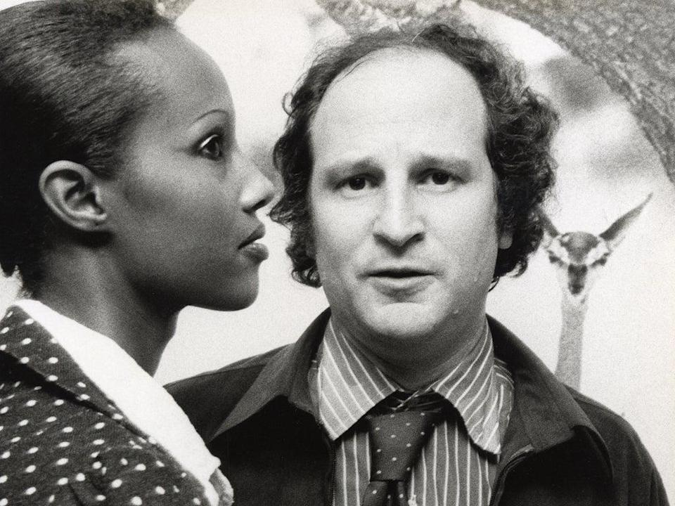 With Iman at Peter Beard's photo opening in New York, in 1975  (Getty)
