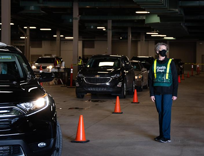 Ingham County Health Officer Linda Vail at a drive-through vaccination site in the Michigan State University Pavilion on Feb. 4.