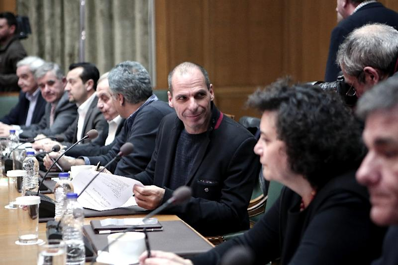 Greek Finance Minister Yanis Varoufakis attends a cabinet meeting in the parliament in Athens on February 21, 2014 (AFP Photo/Angelos Tzortzinis)