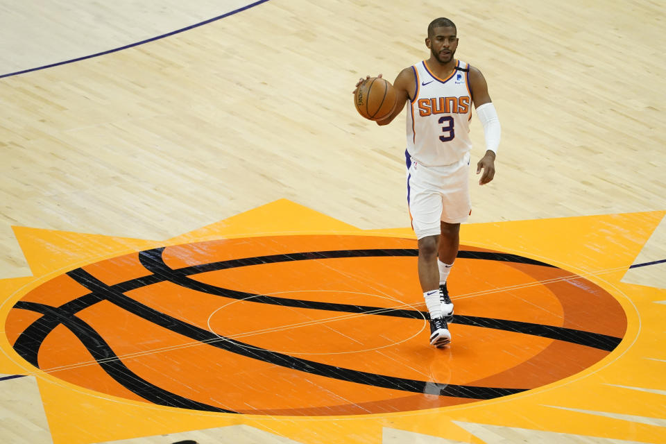 Chris Paul領鳳凰城太陽打出優異的一季。(AP Photo/Matt York)