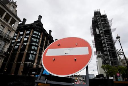 A no entry sign is seen near the Houses of Parliament in London