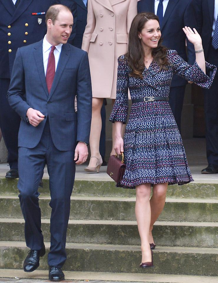 <p>Middleton embraced Paris on her weekend visit, wearing a chic printed blue coatdress from Chanel, accented with a double-C belt and quilted handbag from the historic brand. She wore the stylish ensemble on a visit to Les Invalides and Musee d'Orsay.  </p>