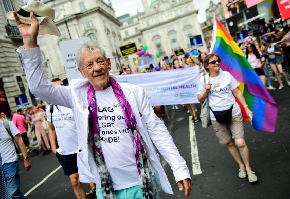 Sir Ian McKellen walking through Piccadilly Circus during Pride in London 2019. (Getty Images)