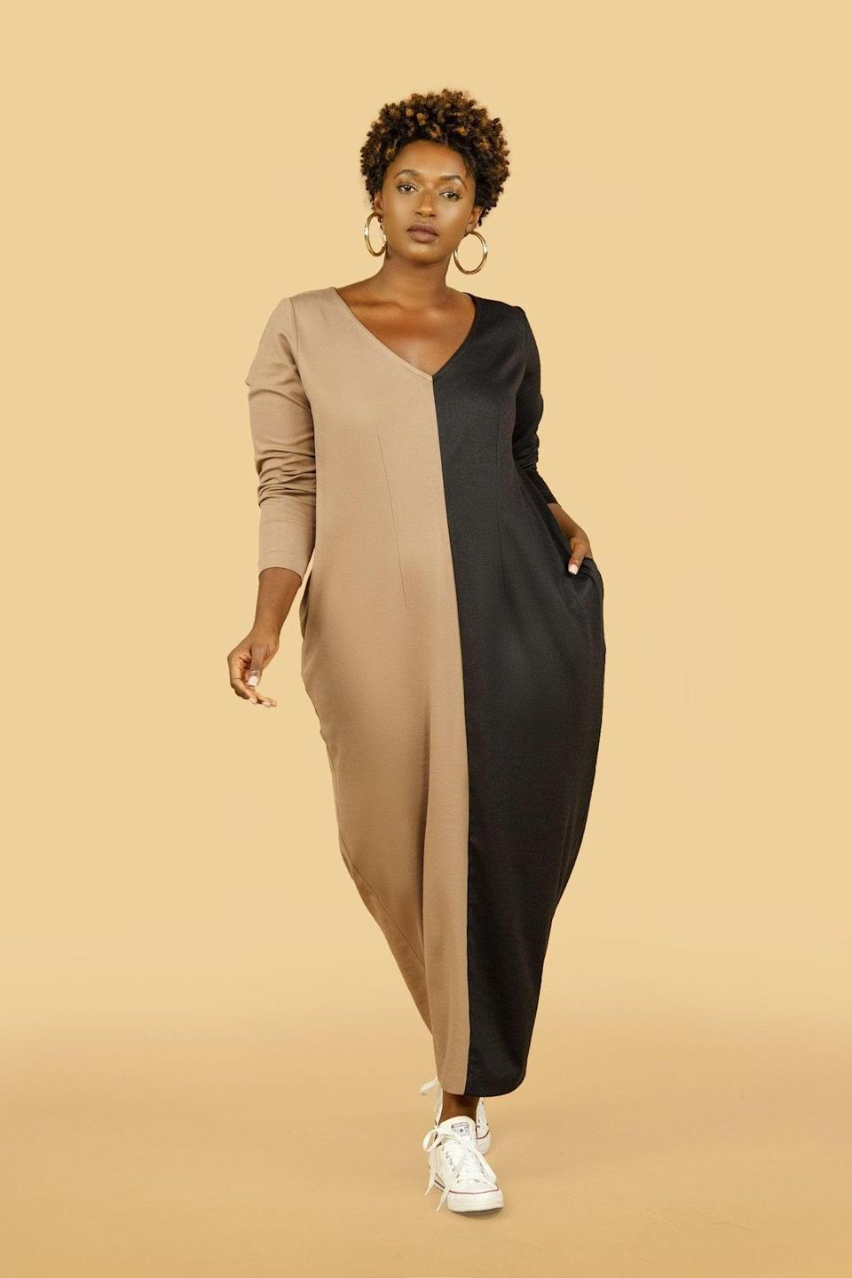 "<br><br><strong>JIBRI</strong> Two-Tone Maxi Cocoon Dress, $, available at <a href=""https://go.skimresources.com/?id=30283X879131&url=https%3A%2F%2Fwww.jibrionline.com%2Fcollections%2Fnew-arrivals%2Fproducts%2Fjibri-two-tone-maxi-cocoon-dress"" rel=""nofollow noopener"" target=""_blank"" data-ylk=""slk:Jibri"" class=""link rapid-noclick-resp"">Jibri</a>"