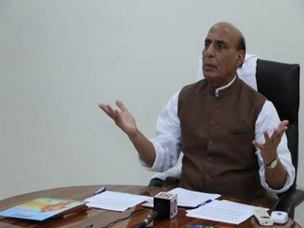 Defence Minister Rajnath Singh attending the event through video conferencing on Saturday. Photo/ANI