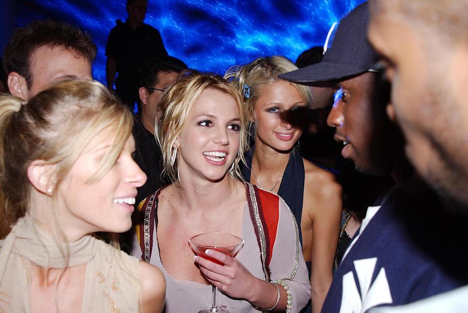 (EXCLUSIVE, Premium Rates Apply) Britney Spears, Paris Hilton and Sean P Diddy Coombs (Photo by Jeff Kravitz/FilmMagic)