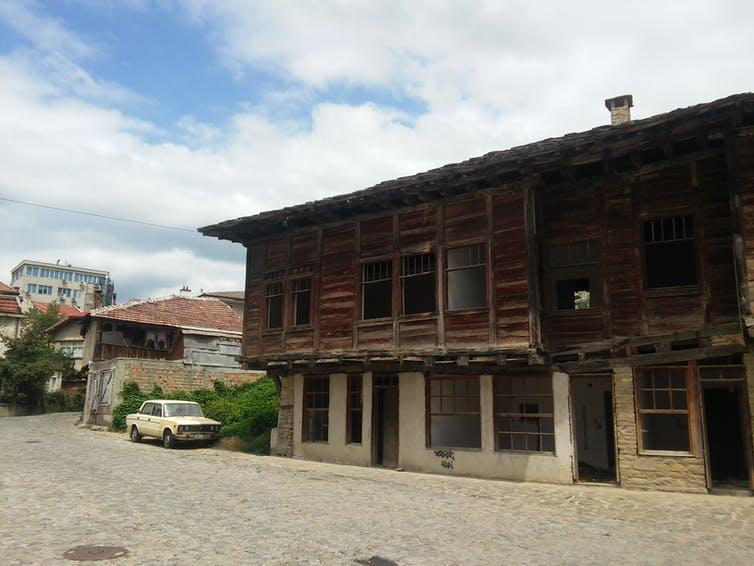 "<span class=""caption"">Figure 3: Abandoned buildings in the centre of a former industrial centre in Bulgaria. August 2016.</span> <span class=""attribution""><span class=""source"">author provided</span></span>"
