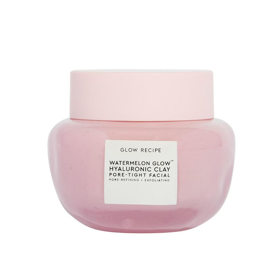 """Anytime Glow Recipe drops a fruit-focused launch, I already know it's going to be good. The genius of this mask is that it combines the refining, smoothing effects of a clay facial with moisturizing hyaluronic acid, so my skin doesn't get tight and dried out. It only takes five minutes for the blend of chemical and physical exfoliants to go to work clearing congested pores, then you rinse it off and revel in the results. The airy texture and delicious watermelon scent (you'll recognize it if you've used any of the brand's other watermelon products) make it the ideal end of day treat. – <em>S.Y.W.</em> $40, Sephora. <a href=""""https://shop-links.co/1744799281132904420"""" rel=""""nofollow noopener"""" target=""""_blank"""" data-ylk=""""slk:Get it now!"""" class=""""link rapid-noclick-resp"""">Get it now!</a>"""
