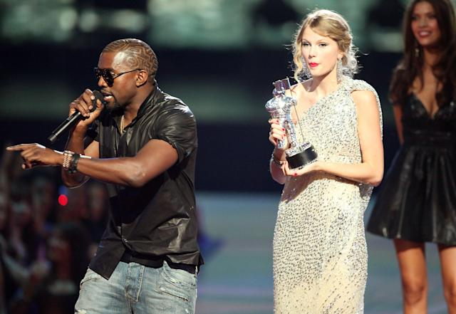 Kanye West and Taylor Swift at he 2009 MTV Video Music Awards in New York City. (Photo: Getty Images)