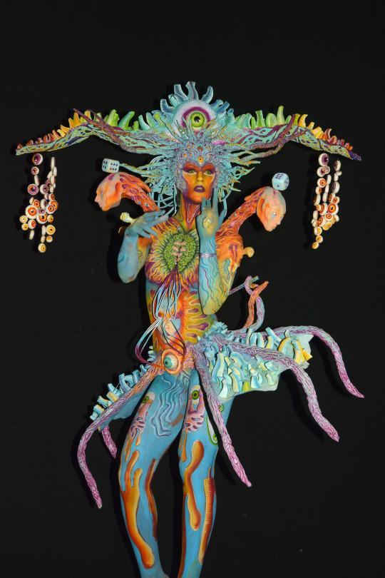 <p>A participant shows off the work of artist Benedetta Carugati from Italy. This bodypainting won 3rd place in the world championship for the special effects category. (Source: Didier Messens/Redferns via Getty Images)</p>