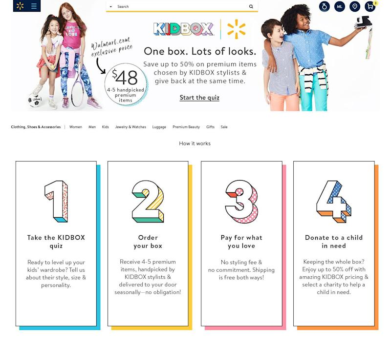 Walmart.com debuted its first subscription stylebox for kids through its partnership with KIDBOX.