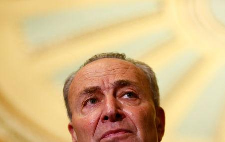 U.S. Sen. Chuck Schumer (R-NY) speaks to reporters after the weekly Republican caucus policy luncheon at the U.S. Capitol in Washington, U.S. April 4, 2017. REUTERS/Eric Thayer