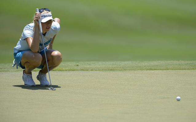 Jessica Korda lines up a putt on the ninth green during the second round of the Airbus LPGA Classic golf tournament at Magnolia Grove on Friday, May 23, 2014, in Mobile, Ala. (AP Photo/G.M. Andrews)