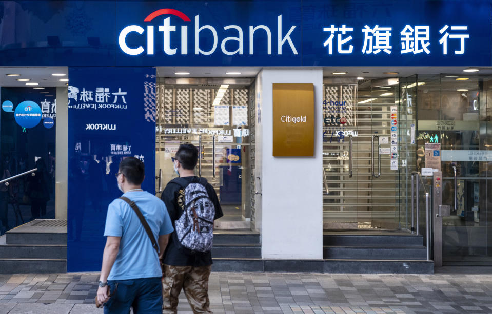 HONG KONG, CHINA - 2020/07/30: Pedestrians pass by an American multinational investment bank and financial services corporation, Citibank or Citi branch in Hong Kong. (Photo by Miguel Candela/SOPA Images/LightRocket via Getty Images)