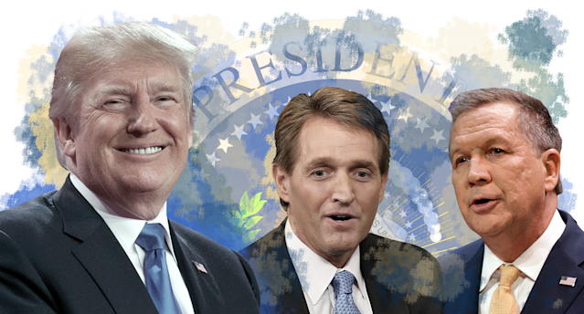 President Trump and (left to right) Jeff Flake and John Kasich (Yahoo News photo Illustration; photos: AP, Getty)