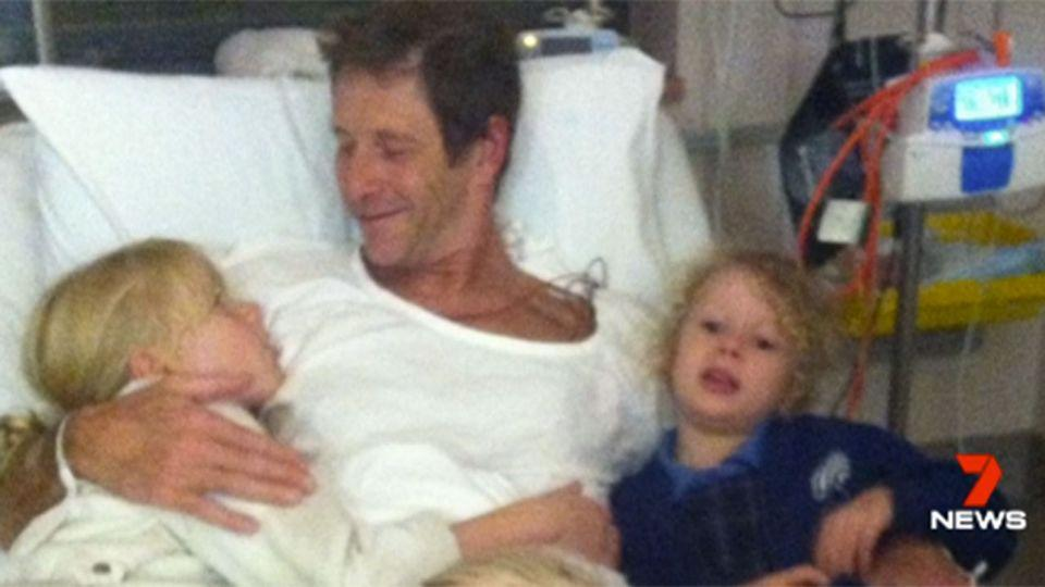 This father, John Ross, is lucky to be alive after he went into cardiac arrest. Source: 7 News