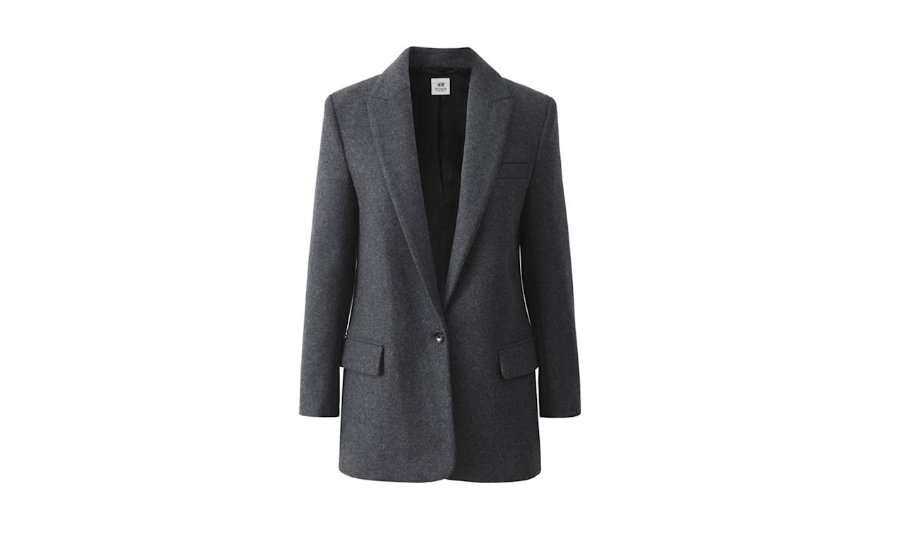 "<p><i>Wool-blend blazer, $199, <a rel=""nofollow"" href=""http://www.hm.com/us/product/71892?article=71892-A#campaign=CAMP_LADIES_STUDIO-AW2017-WOMEN&shopOrigin=CA&webShopOrigin=CA"">hm.com.</a> (Photo courtesy of H&M) </i></p>"