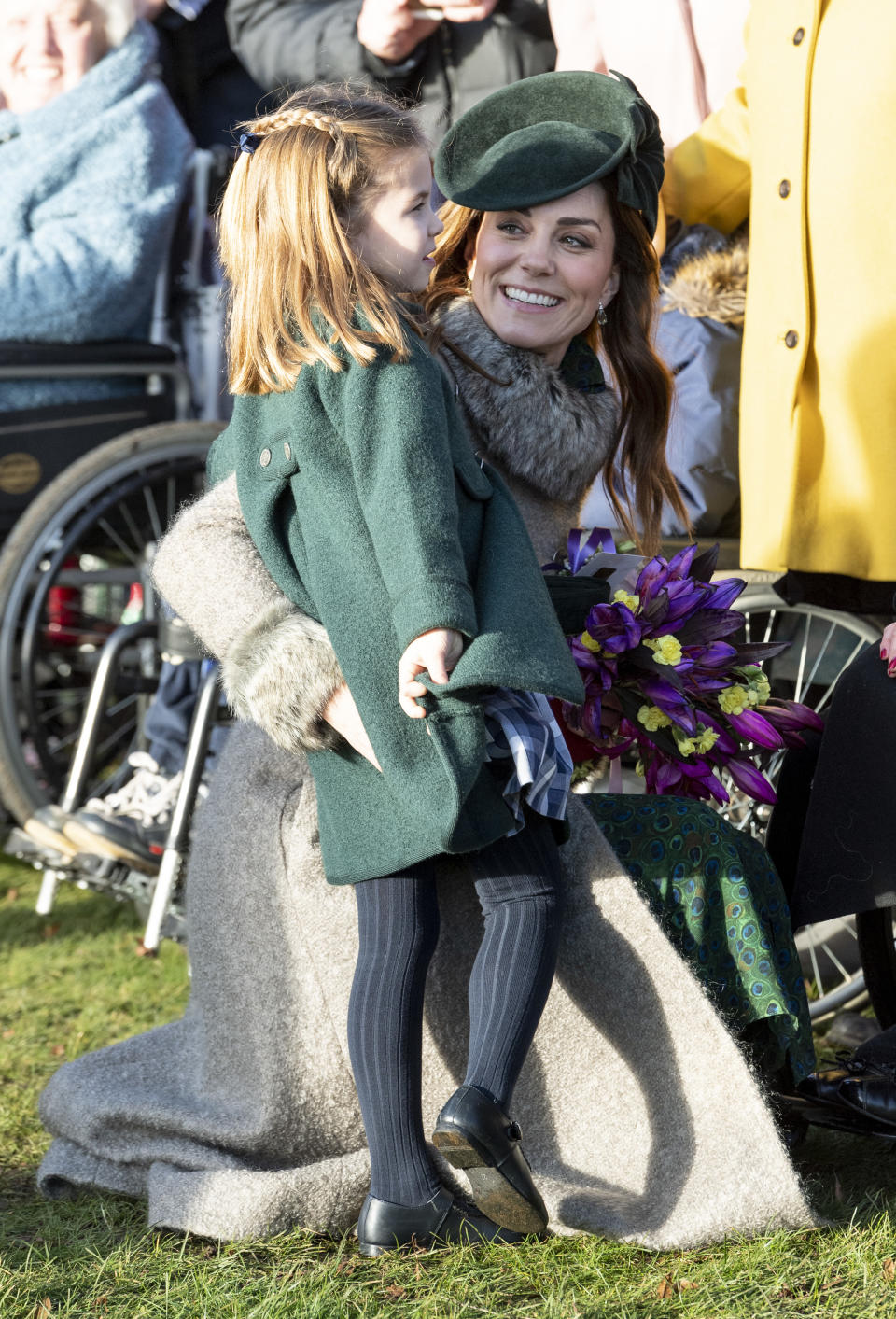 KING'S LYNN, ENGLAND - DECEMBER 25: Princess Charlotte of Cambridge and Catherine, Duchess of Cambridge attend the Christmas Day Church service at Church of St Mary Magdalene on the Sandringham estate on December 25, 2019 in King's Lynn, United Kingdom. (Photo by UK Press Pool/UK Press via Getty Images)