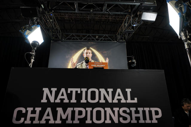 Clemson head coach Dabo Swinney speaks during media day for NCAA College Football Playoff national championship game Saturday, Jan. 11, 2020, in New Orleans. Clemson is scheduled to play LSU on Monday. (AP Photo/David J. Phillip)