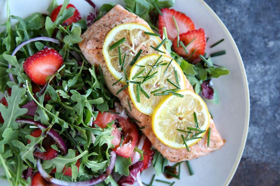 """<p><span>More fish and veg. Just let it happen. Choose a Passover-friendly dressing that's not balsamic vinegar and pick a K for P mustard to use.</span></p><p><span>Get the recipe from </span><a href=""""https://www.delish.com/cooking/recipe-ideas/recipes/a47698/roasted-salmon-with-strawberry-recipe/"""" rel=""""nofollow noopener"""" target=""""_blank"""" data-ylk=""""slk:Delish"""" class=""""link rapid-noclick-resp"""">Delish</a><span>.</span><br></p>"""