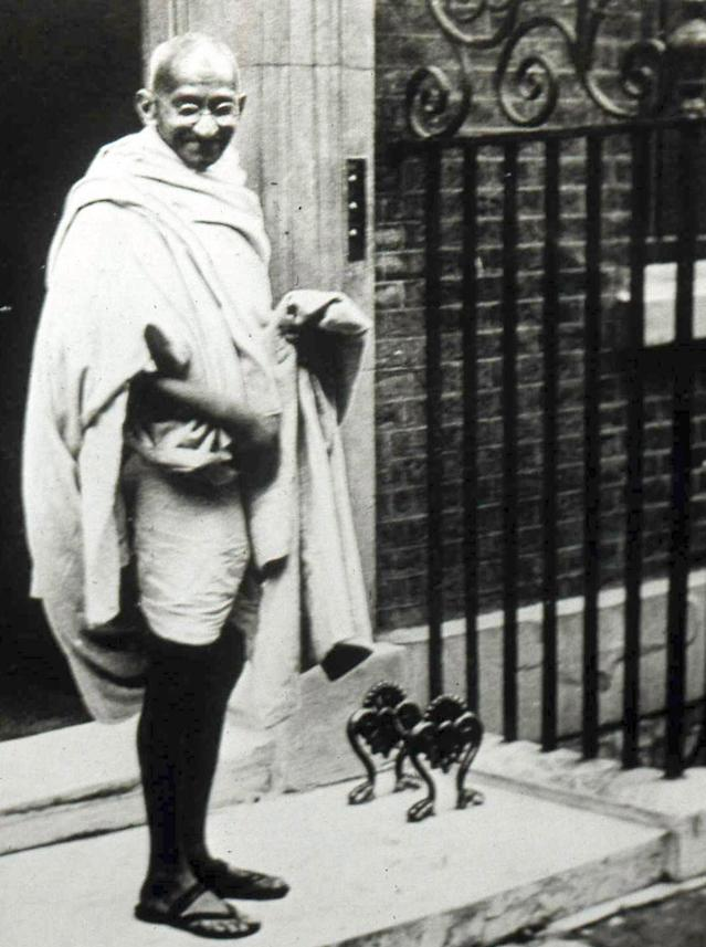 UNSPECIFIED - CIRCA 1754: Mahatma K Gandhi (1869-1948) Indian Lawyer and leader of the movement for India's independence, visited Britain in 1931, ,to attend the second Round Table conference. he visited the British Prime Minister, Ramsay MacDonald, at 10 Downing Street. (Photo by Universal History Archive/Getty Images)