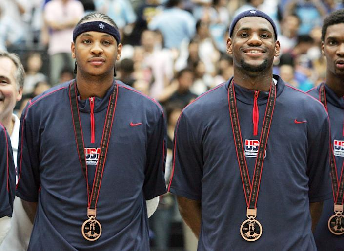 Carmelo Anthony and LeBron James at the 2008 Olympics.