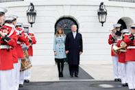 For the 140th annual Easter Egg Roll at the White House, Melania kept warm in a powder blue Burberry coat which weighs in at £1,795. [Photo: Getty]