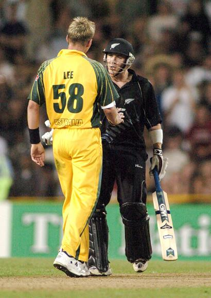 AUCKLAND, NEW ZEALAND - FEBRUARY 26: Australia's Brett Lee restrains an angry Black Caps Brendon McCullum after bowling a full toss at him in their third ODI cricket match played at Eden Park in Auckland, New Zealand, Saturday, February 26th, 2005. Australia won the game by 86 runs. (Photo by Phil Walter/Getty Images)