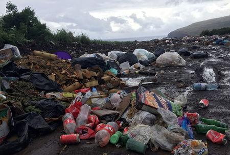 Accumulated garbage is seen in a garbage dump near the coast of Easter Island, Chile February 16, 2019. REUTERS/Marion Giraldo/Files