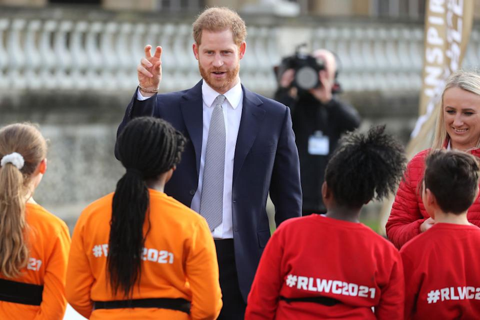 Prince Harry is patron of the Rugby Football League and made his first official appearance for the draw for the Rugby League World Cup 2021 [Photo: Getty]