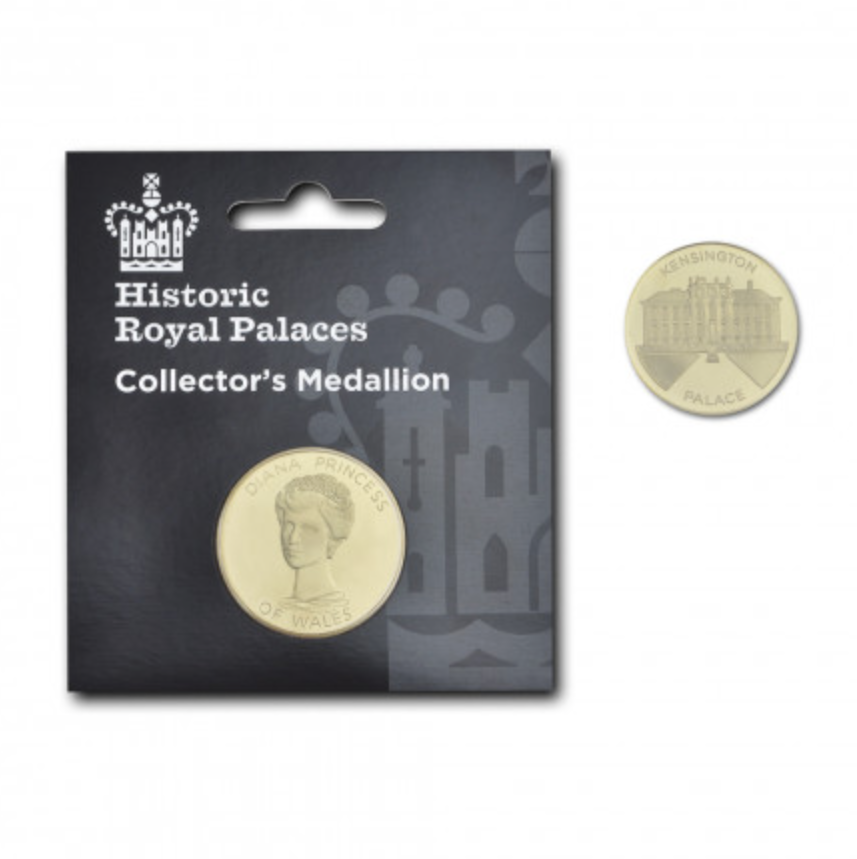 """<p>Designed exclusively for Kensington Palace, this commemorative 22 carat gold plated coin is a brilliant keepsake for those wishing to build a collection in memory of Princess Diana.<br><em><a rel=""""nofollow noopener"""" href=""""http://www.historicroyalpalaces.com/princessdiana-commemorative-collectors-medallion-kensingtonpalace-gold.html"""" target=""""_blank"""" data-ylk=""""slk:Historic Royal Palaces"""" class=""""link rapid-noclick-resp"""">Historic Royal Palaces</a>, £6.99</em> </p>"""