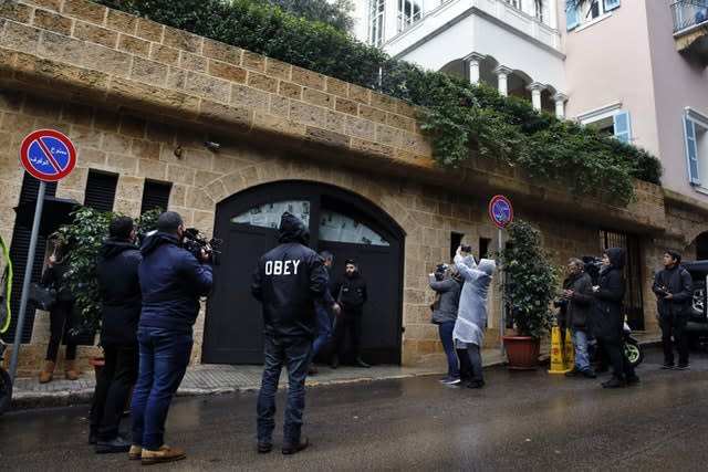 Journalists outside the house of ex-Nissan chief Carlos Ghosn in Beirut, Lebanon