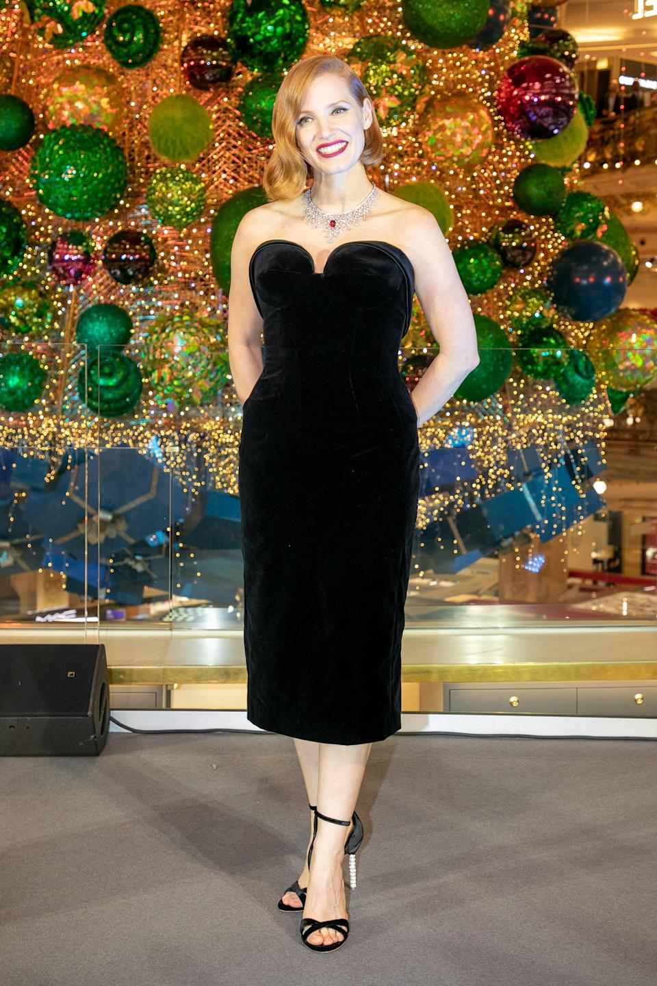 <p>Jessica oozed Hollywood glamour in a velvet cocktail dress by Ulyana Sergeenko, paired with velvet heels and a statement necklace. </p>