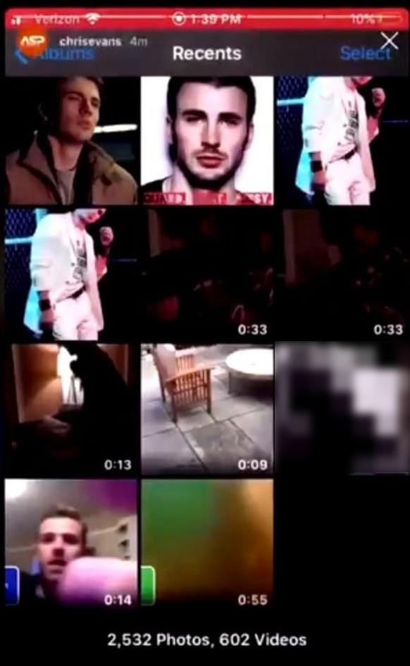 Image of camera roll accidentally shared by Chris Evans on IG live, with image of penis blurred out
