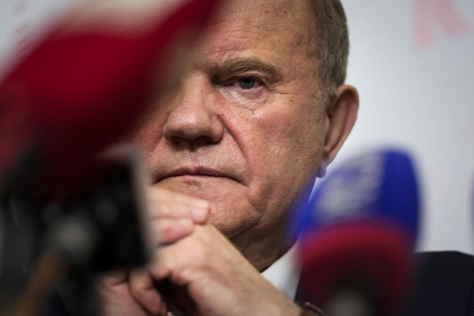 Russian Communist Party leader Gennady Zyuganov attends a news conference during the Parliamentary elections in Moscow, Russia, Sunday, Sept. 19, 2021. From the Baltic Sea to the Pacific Ocean, Russians across eleven time zones voted Sunday on the third and final day of a national election for a new parliament, a ballot in which the pro-Kremlin ruling party is largely expected to retain its majority after months of relentless crackdown on the opposition. (AP Photo/Pavel Golovkin)