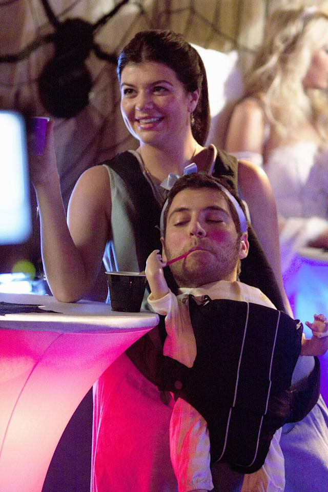"Casey Wilson as Penny and Adam Pally as Max in the Halloween episode ""Spooky Endings"" of ""Happy Endings."""