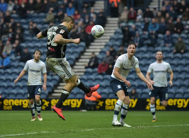"Soccer Football - Championship - Preston North End vs Fulham - Deepdale, Preston, Britain - March 10, 2018 FulhamÕs Aleksandar Mitrovic scores their second goal Action Images/Paul Burrows EDITORIAL USE ONLY. No use with unauthorized audio, video, data, fixture lists, club/league logos or ""live"" services. Online in-match use limited to 75 images, no video emulation. No use in betting, games or single club/league/player publications. Please contact your account representative for further details."